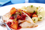 Seared Chicken with warm Tomato and Apricot Sauce